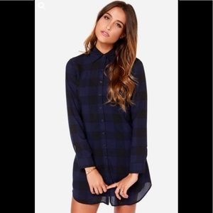 BB Dakota Keenan Navy Blue Plaid Shirt Dress sz M